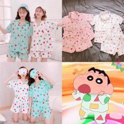 pyjamas, pink, green, shinchan, kawaii, cute